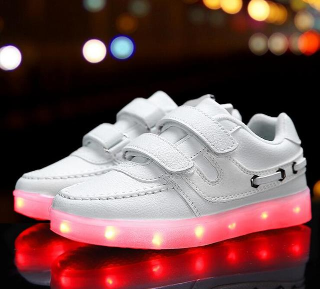 New 2016 Cool Recharged LED lighting casual kids shoes fashion Fashion boys girls shoes  high quality children shoes sneakers