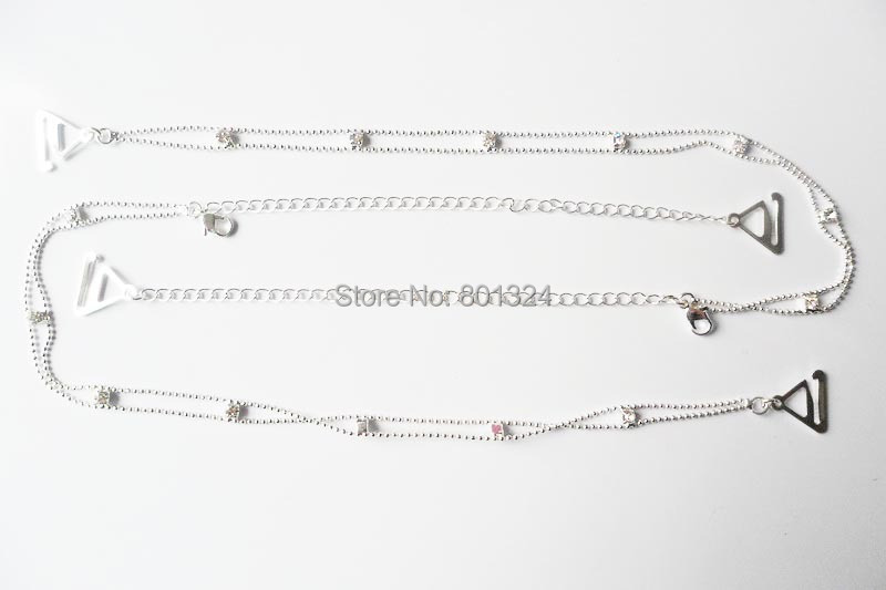 Metal Adjustable Silver Black Bra Shoulder Strap Rhinestone Bra Shoulder Strap Double Beads Clip Bra Underwear Shoulder Straps 3