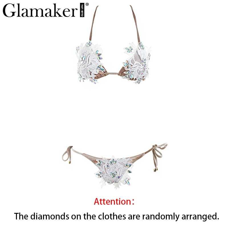 Glamaker Холтер бинты сексуальное боди для женщин из двух частей костюм кристалл кружево костюм, Летний комбинезон пляж спинки нарядный боди