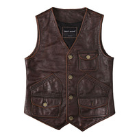 2019 Vintage Brown Men American Casual Style Leather Vest Plus Size XXXL Genuine Cowhide Spring Short Natural Vest FREE SHIPPING