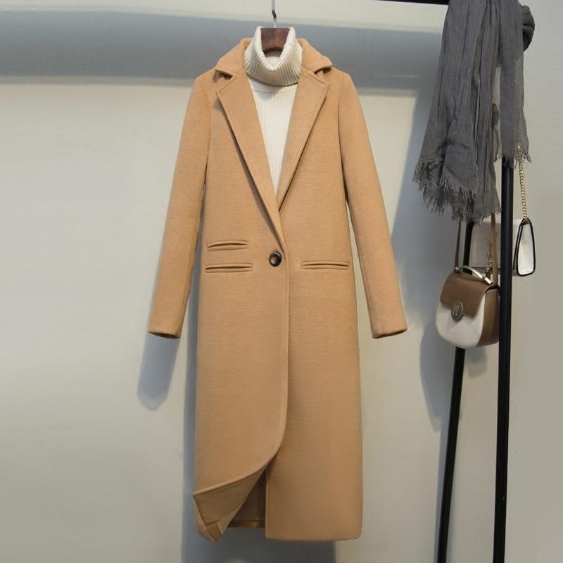 YAGENZ 2019 kobiety wełniane kurtki zima nowa moda szczupła Temperament długie płaszcze jednolity na co dzień ciepły płaszcz damski czarny wielbłąd w Wełna i mieszanki od Odzież damska na  Grupa 3