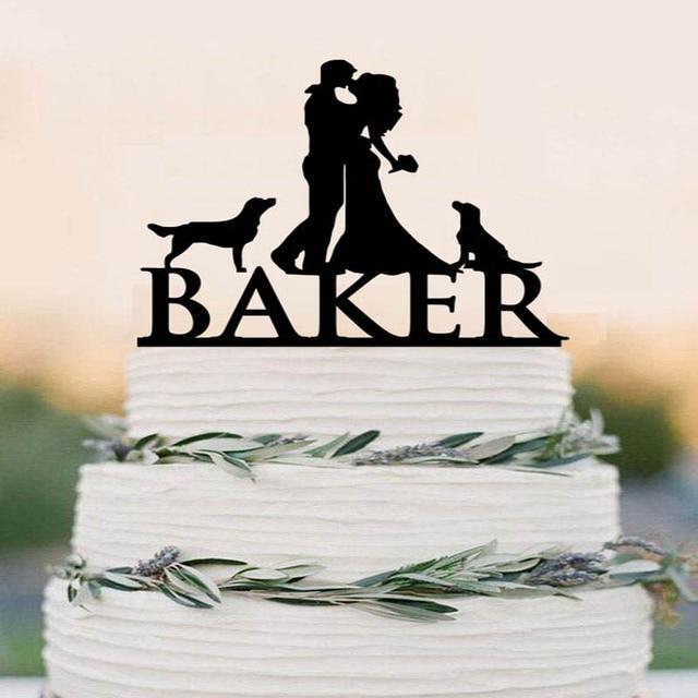 Bride And Groom Cake TopperCouple SilhouetteCustom TopperDog Topper