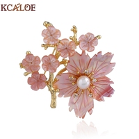 KCALOE Pink Shell Flowers Broches Jewelry Fashion Gold Color Tree Imitation Pearl Rhinestone Brooch Metal Pin Women Accessories