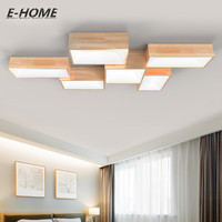 Modern Simple Solid Wood Ceiling Lamp LED Creative Rectangular DIY Combination Atmosphere Living Room Bedroom Lighting
