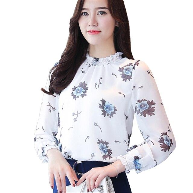 971465ffbf28 € 15.54 |Negro Albaricoque Blanco Blusa de La Gasa Mujeres Otoño 2017 Damas  Elegantes Camisas de Manga Larga Estampado floral de Moda de Corea Casual  ...