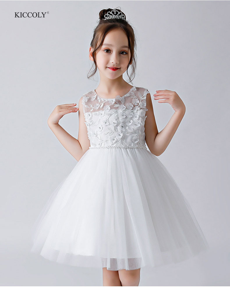 KICCOLY NEW Kids Girl Ball Gown Dress White Tulle Girl Summer Lace Dress 4-14T Princess Birthday Party Dress Children ClothingKICCOLY NEW Kids Girl Ball Gown Dress White Tulle Girl Summer Lace Dress 4-14T Princess Birthday Party Dress Children Clothing