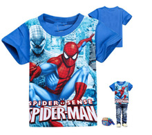 Hot Sale baby boy SpiderMan t shirt cotton kids boys fashion superman tops children summer short sleeve Spider Man shirt retail