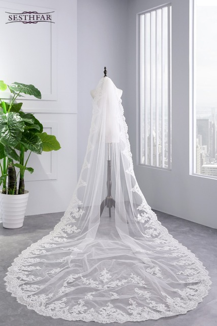 2018 White Ivory Cathedral Wedding Veils Long Lace Edge Bridal Veil With Comb Accessories Bride