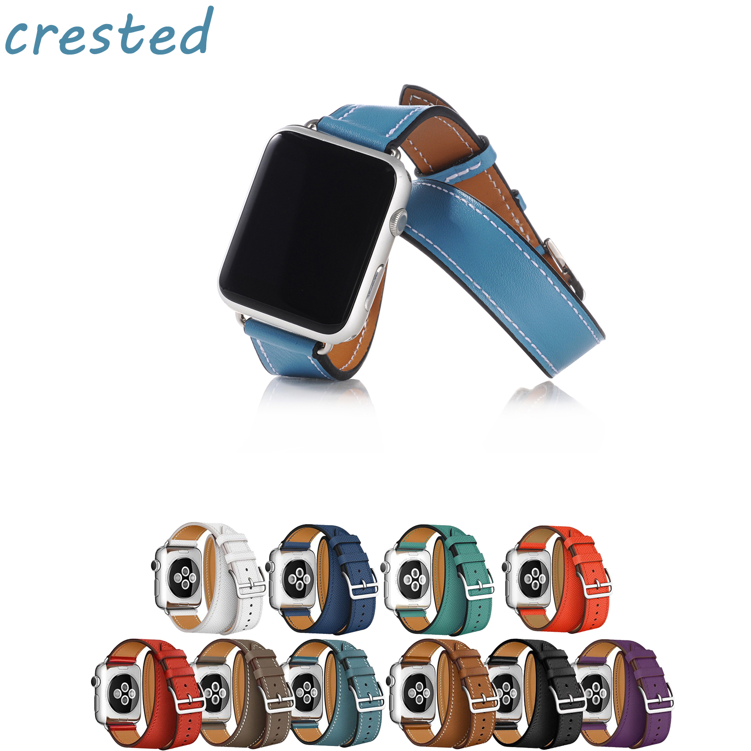 CRESTED Genuine Leather watch band for apple watch 3 42mm 38mm strap bracelet for iwatch Hermes 3/2/1 Double tour clock band istrap black brown red france genuine calf leather single tour bracelet watch strap for iwatch apple watch band 38mm 42mm