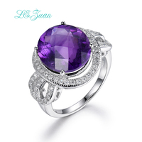 I&zuan 7.92ct Blue Stone Rings 925 Streling Silver Luxury Ring Fine Jewelry Checkerboard Cut Gems Ring For Women