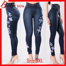 2019 new spring summer jeans zipper women embroidered pencil pants skinny casual middle waist Jeans