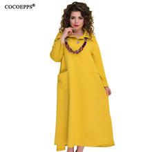 e4026c54fb4e 5XL 6XL Autumn Winter Women Long Dress Solid Long Sleeve Casual Plus size  Maxi Dress Yellow Big size Women Office Dress Vestidos