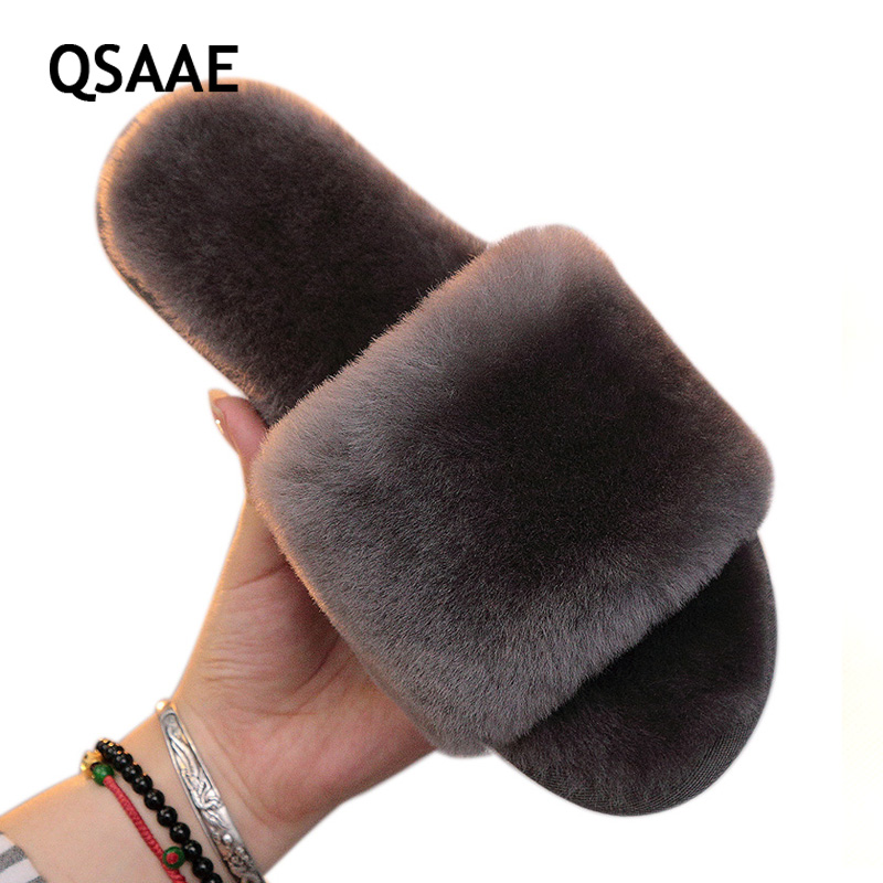Natural Fur Slippers Women Home Winter Warm Indoor Wool Slippers 2020 Fashion Furry Australia Sheepskin House menSlippers AWM210