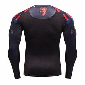 Image 5 - Мужская компрессионная рубашка, сезон осень зима 2016, дышащая сетчатая одежда для фитнеса, брендовая одежда для мужчин, быстросохнущая 3d рубашка для мужчин