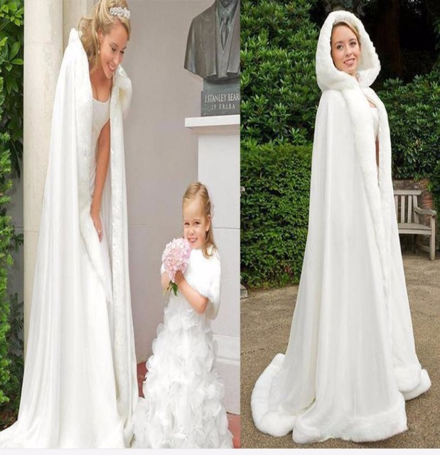 c91a66d6062c2 Floor Length Women White/Ivory Faux Fur Trim Winter Christmas Bridal Cape  Stunning Wedding Cloaks