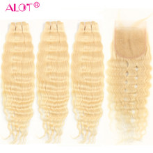 Alot 613 Loose Deep Wave Human Hair Bundles With Closure Brazilian Platinum Blonde Remy Hair Extensions With Lace Closure 4 Pcs(China)