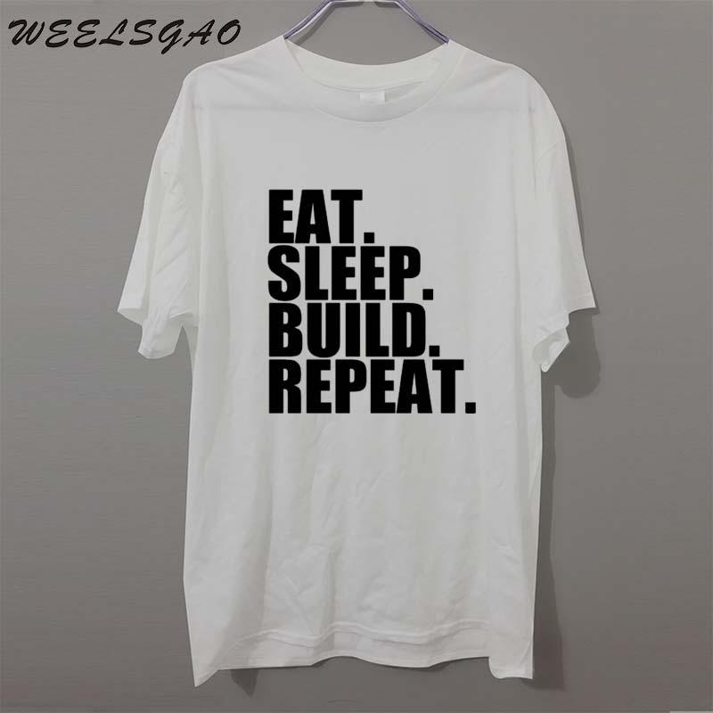 WEELSGAO T Shirt Eat. Sleep. Build. Repeat. Construction Builder Crew Neck Men Short Sleeve Christmas Shirt