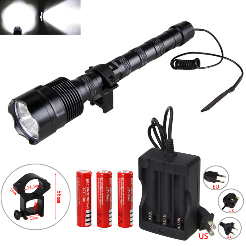 6000 lumens Hunting Light High Powerful 3 T6 LED Tactical Flashlight 3 18650 Battery Remote Pressure