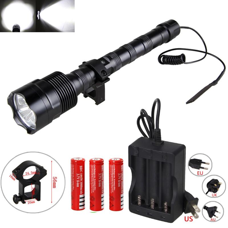 5000lm White LED 501B Flashlight Tactical Hunting Light Torch 18650 Gun Mount