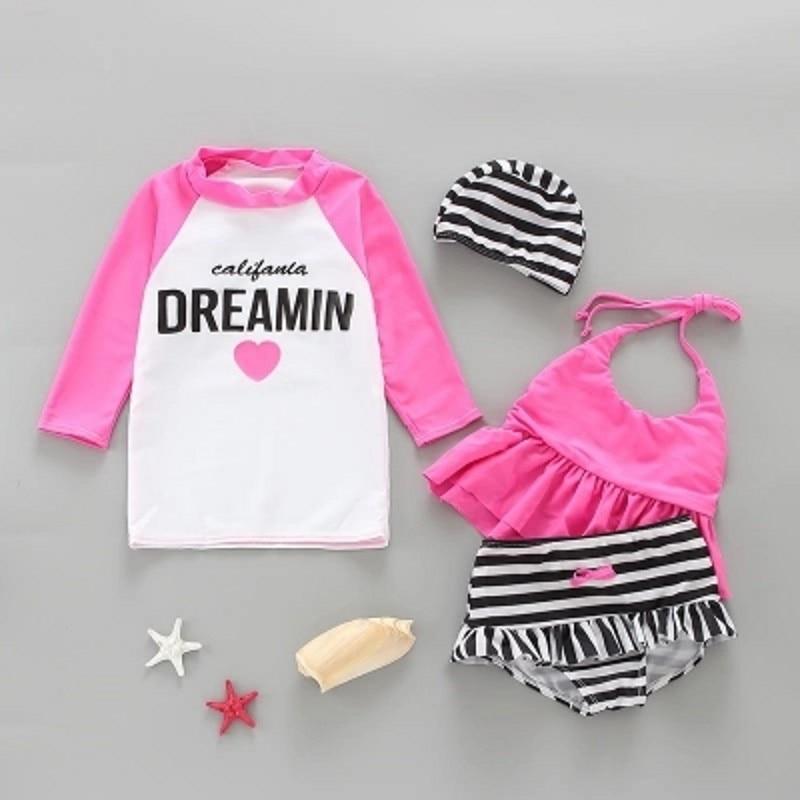 Baby Swimwear Cute Sunscreen Summer Baby Girl Swimwear Long Sleeved Quick Dry Swimsuit 3Pcs Suit Rash Guard Bikini Polyester