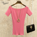 Women knitted top slash neck elastic tight t shirt short sleeve pink white t-shirts high quality fashion sexy female tee TS-044