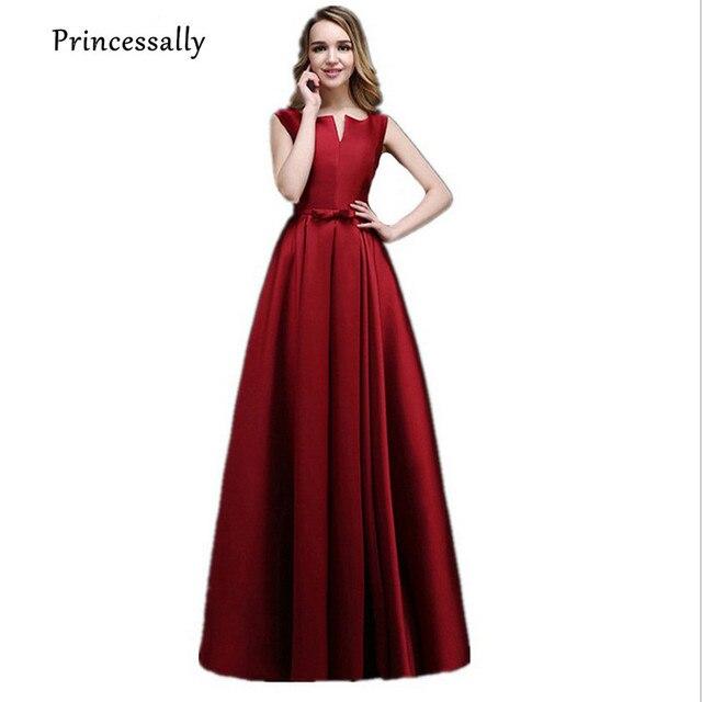 High Quality Wine Red Bridesmaid Dresses Long Thick Satin Floor Length Elegant  Prom Party Dresses Vestido Da Dama De Honra 2017 72c7dcb139a2