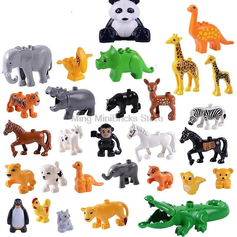 Locking Duplo Figures Animal series panda Jurassic Dinosaur Tyrannosaurus rex Building Blocks Bricks Educational Toys Gifts