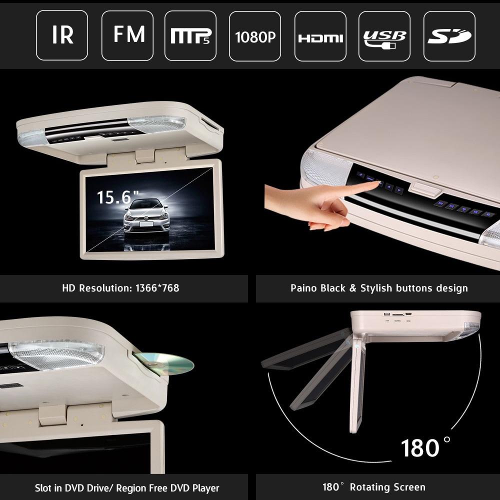 15,6 дюймовый DVD плеер с креплением на крышу с USB SD MP5 плеер IR FM передатчик, HDMI, беспроводные игры