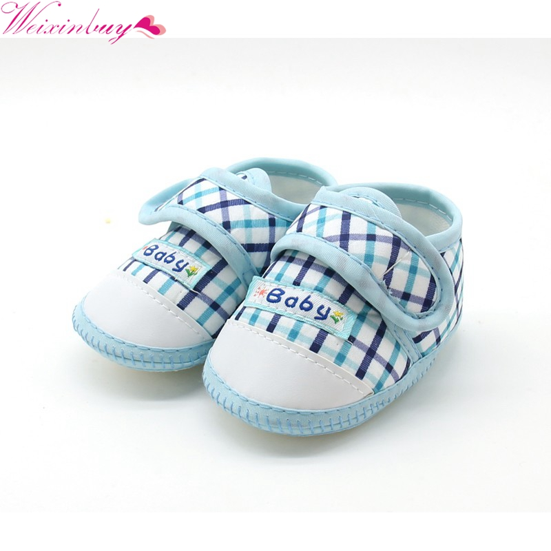 2018 New High Quality Baby Shoes Cute Lattice Star Cartoon Pattern Soft Sole Infant Toddler Prewalkers Shoes M1