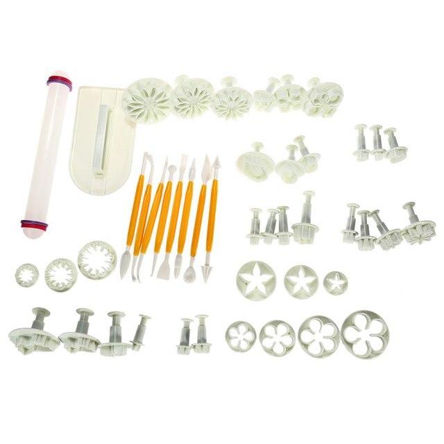 46PCS Professional Flower Fondant Gun Cake Decorating Tools Mould ...
