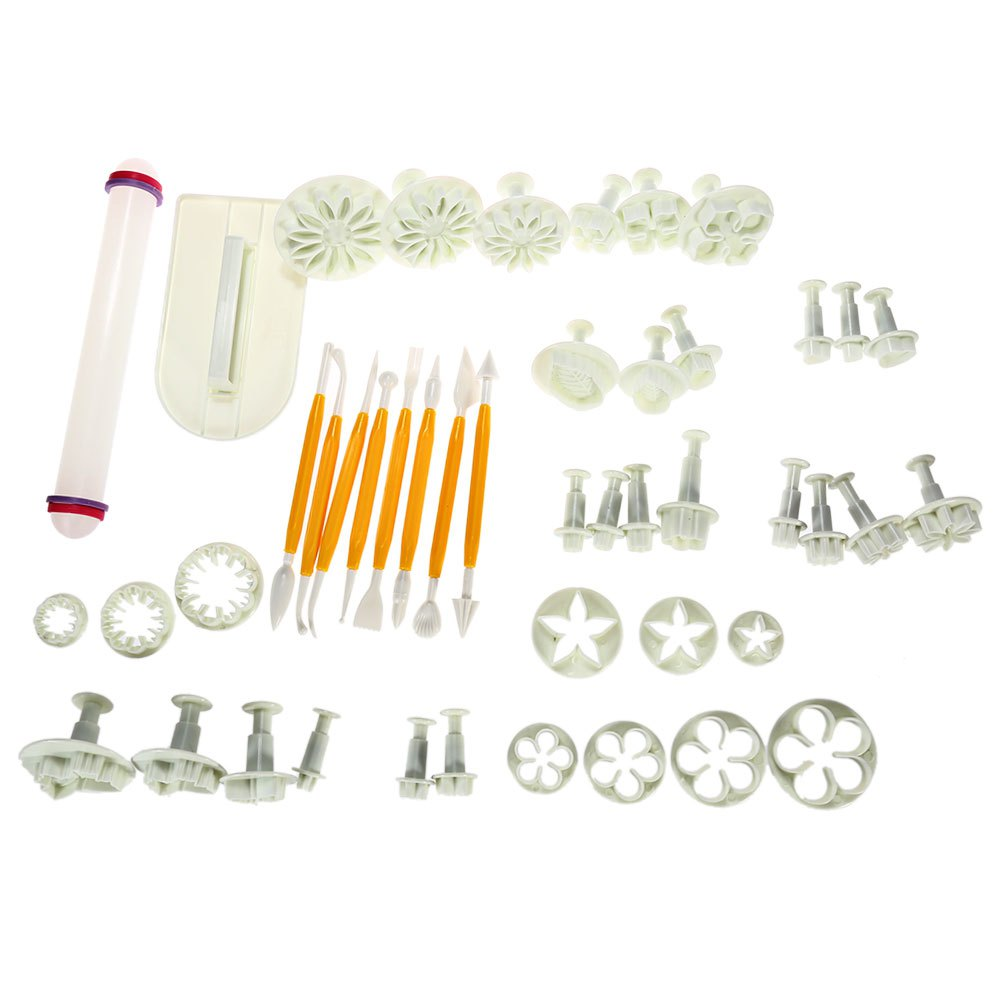 Create Professional Looking Flowers Designs 46pcs Flower Fondant Cake Decorating Kit Cookie Mold Icing Plunger Cutter