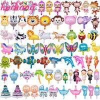 500 шт. 1000 шт. смешивания мини животных Симпатичные принцессы cal воздушный шар из фольги номер Радуга конфеты День Рождения украшения детской