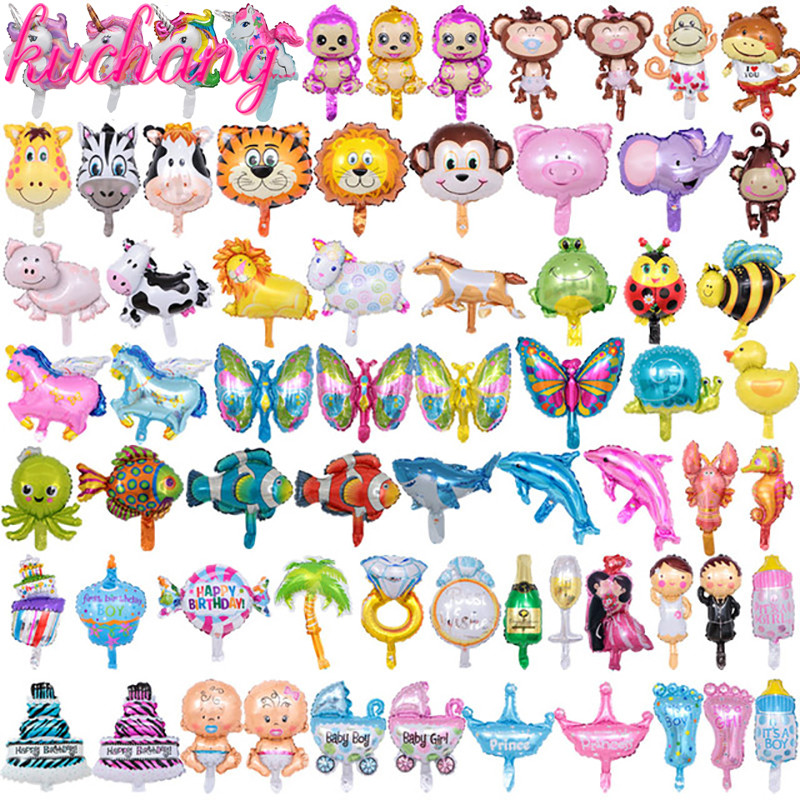 500 pcs 1000 pcs mix mini animal mignon princesse cal feuille ballon nombre arc-en-bonbons de fête d'anniversaire décoration enfant jouet fournisseur