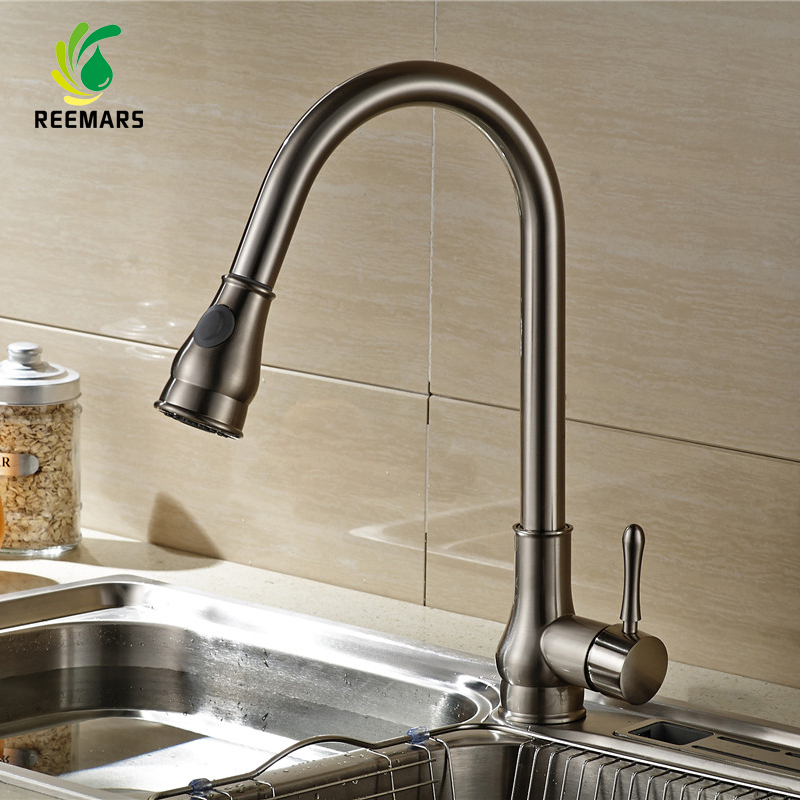 Genuine REEMARS Kitchen Faucet Drawing Single Handle Mixer Pull Out Kitchen Tap Single Hole360 Rotate Copper