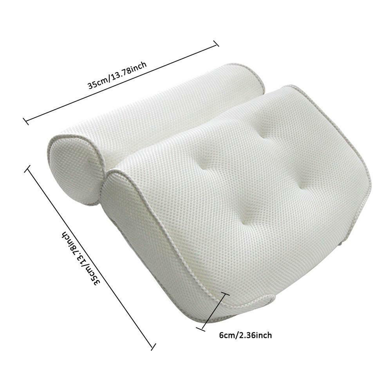 3D Mesh Bathroom Bathtub Pillow Non Slip Cushioned Bath Tub Spa Pillow Backrest Headrest With Suction Cups Neck Bath Cushion-in Bath Pillows from Home & Garden