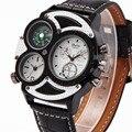2016 OULM Hombres Aviador Militar Correa de Cuero Reloj de Cuarzo Dual Time zona Brújula Dial DZ mens relojes de primeras marcas de lujo + REGALO CAJA