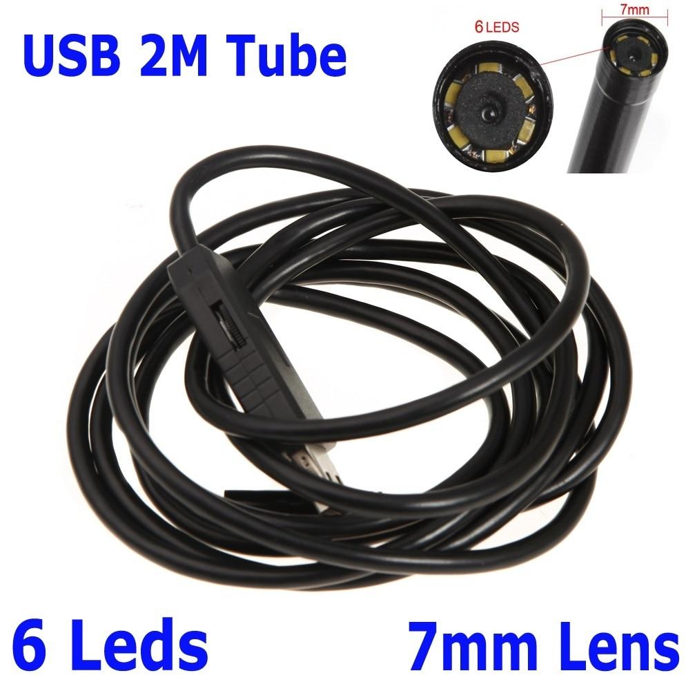 Waterproof 7mm USB Inspection Borescope Endoscope Snake Scope 6 LEDs 2m Tube Micro Camera 640x480 1pcs 2m 7mm 6 led usb waterproof endoscope borescope snake inspection video camera hot sales