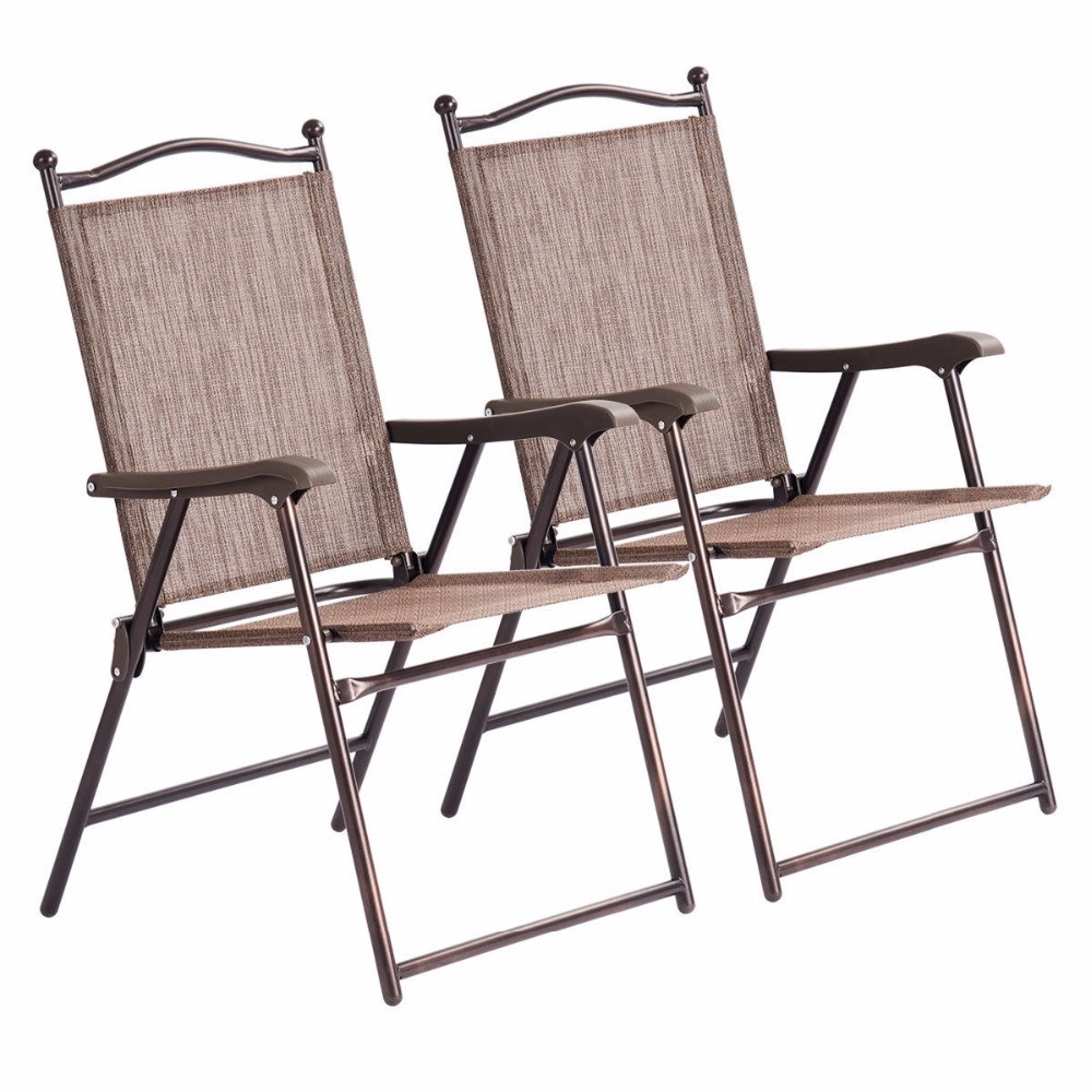 Patio Folding Chairs Us 49 99 Giantex Set Of 2 Patio Folding Sling Back Chairs Camping Deck Garden Beach Outdoor Furniture Op3568 In Beach Chairs From Furniture On