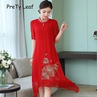 2019 silk vintage ethnic embroidery dress