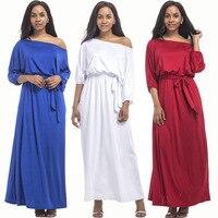 Plus Size Women Half Sleeve Maxi Fashion Dress Slash Neck High Waist Dress Engagement Evening Party