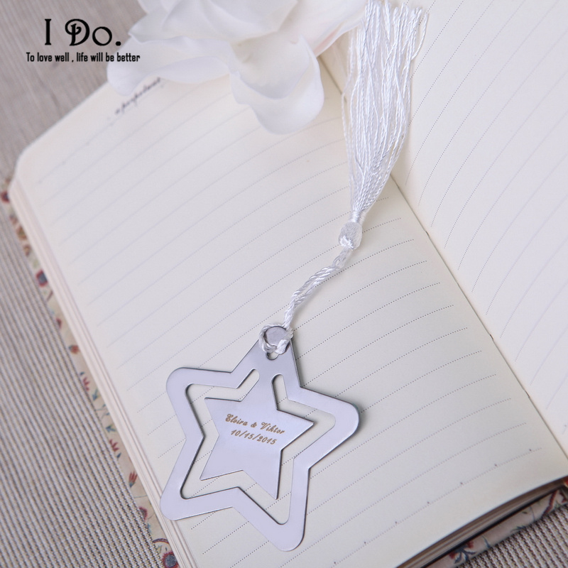 Free Shipping Personalized Pentagram Bookmark Wedding Favors And