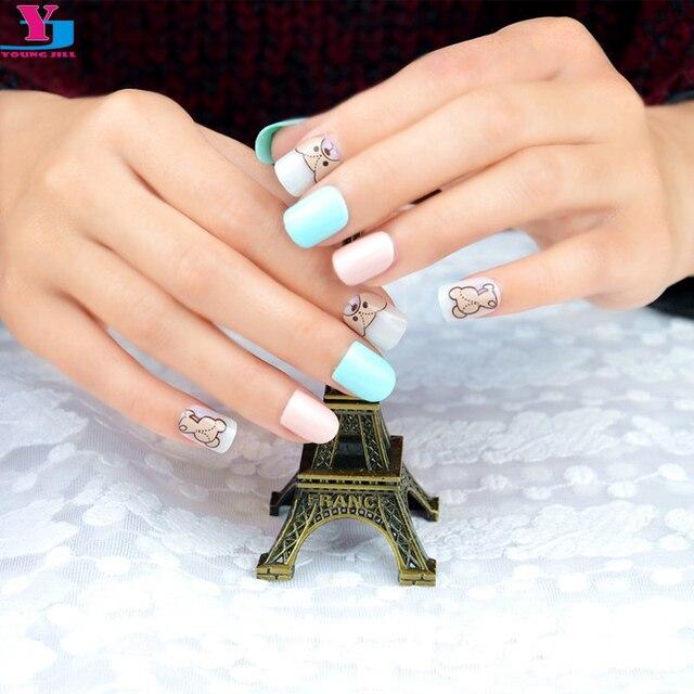 Top Quality Cute Bear False Nails Kids 24 Faux Ongles Manicure Colored Acrylic Nail Art Tips