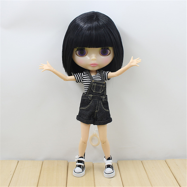 Blyth 1/6 Nude Doll Black Short Straight Hair Joint Body Transparent Face White Skin BJD ICY Suitable For DIY No.130BL9601
