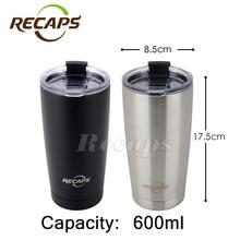 600 ML thermocup deportes botella de agua de acero inoxidable drinkware taza termo taza de Café doble pared taza térmica taza