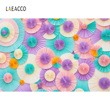 Laeacco Colorful Paper Flowers Wall Photography Backgrounds Baby Children Portrait Scene Photographic Backdrops For Photo Studio