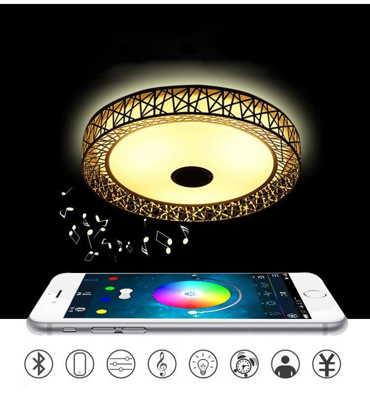 Oiseau nid sans fil LED bluetooth plafonnier musique & multi-couleurs changeant Smart télécommande lampe métal & acrylique abat-jour