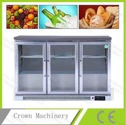 Envío Gratis fruta/bebida/pastel/Pan 3 empujar y tirar de la puerta de cristal armario refrigerado de refrigeración recta; caso de exhibición