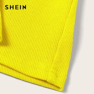 Image 4 - SHEIN Neon Rib Knit Crop Cami Top And Skinny Skirt Set Sexy Solid Sleeveless 2 Piece Set Spaghetti Strap Women Set