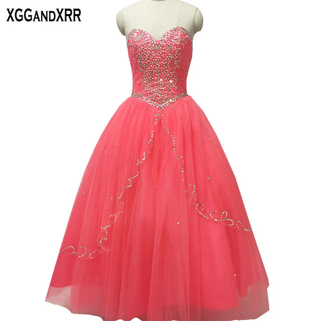 9579697d03a vestidos de 15 anos Tulle Sweetheart Beaded Sequined Ball Gown Quinceanera  Dresses 2018 Lace Up Back Floor Length Girls Gowns
