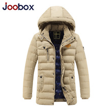JOOBOX 2016 Winter Jacket Men New Fashion Zipper Warm Cotton Padded Parka Men Casual Detachable cap